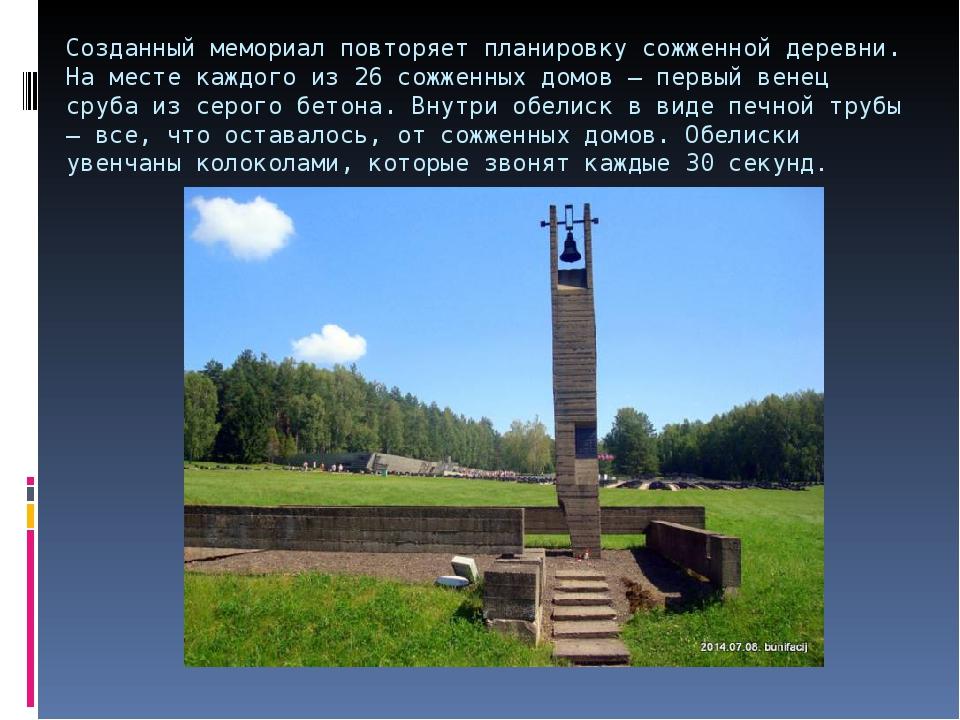 Созданный мемориал повторяет планировку сожженной деревни. На месте каждого и...
