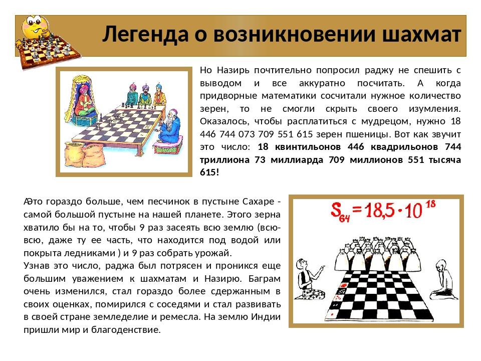 Легенда о возникновении шахмат Но Назирь почтительно попросил раджу не спешит...