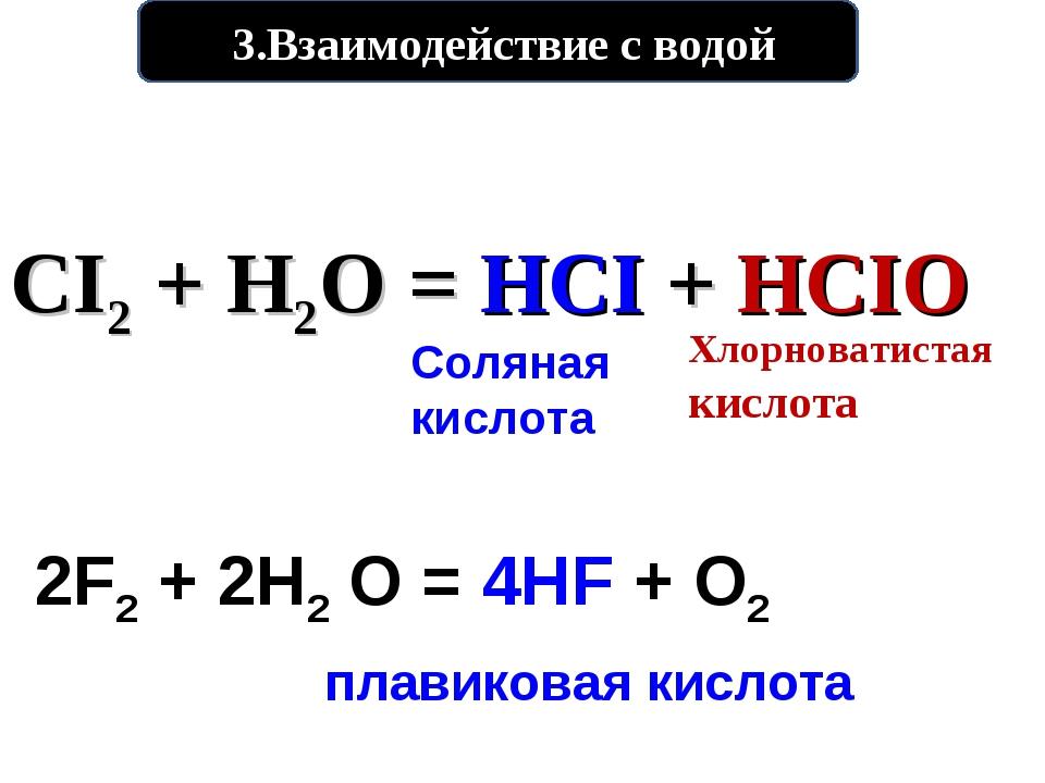 3.Взаимодействие с водой CI2 + H2O = HCI + HCIO Хлорноватистая кислота Солян...