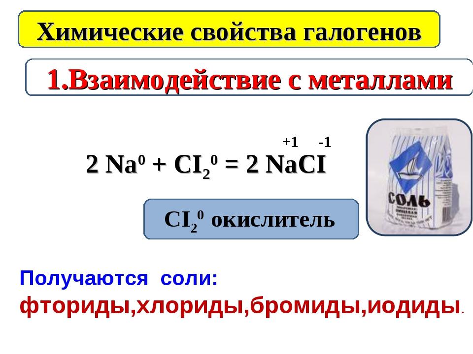 1.Взаимодействие с металлами Химические свойства галогенов 2 Na0 + CI20 = 2 N...