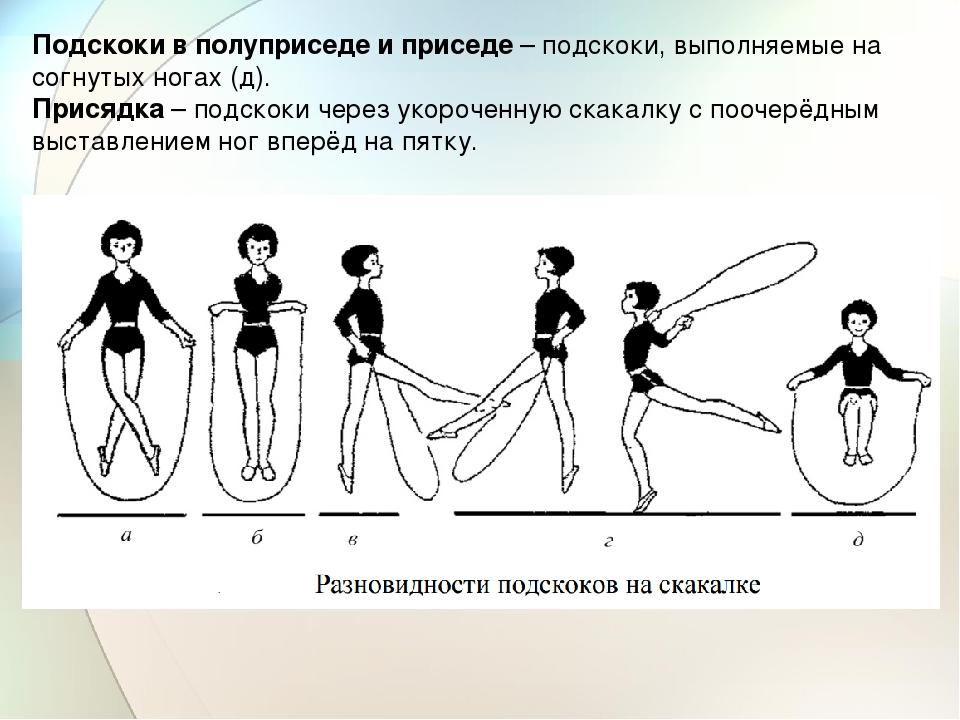 Подскоки в полуприседе и приседе – подскоки, выполняемые на согнутых ногах (д...