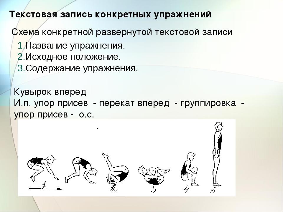 Текстовая запись конкретных упражнений Схема конкретной развернутой текстовой...