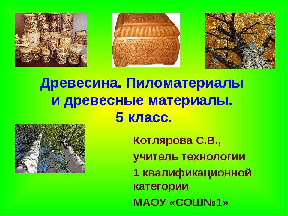 Древесина. Пиломатериалы и древесные материалы. 5 класс. Котлярова С.В., учит...