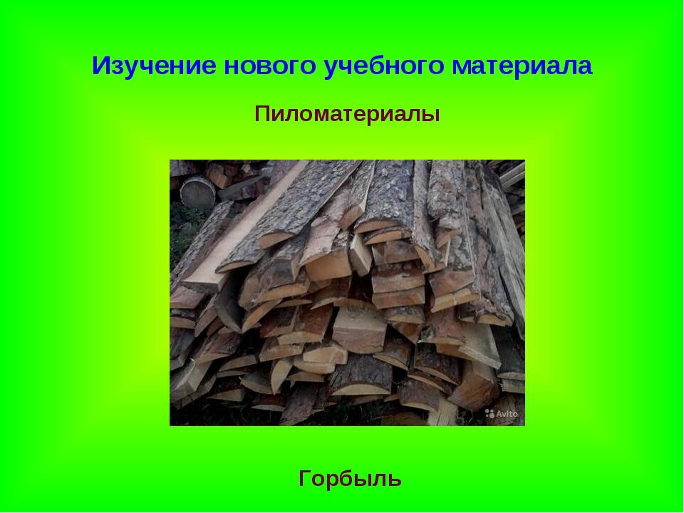 Изучение нового учебного материала Пиломатериалы Горбыль