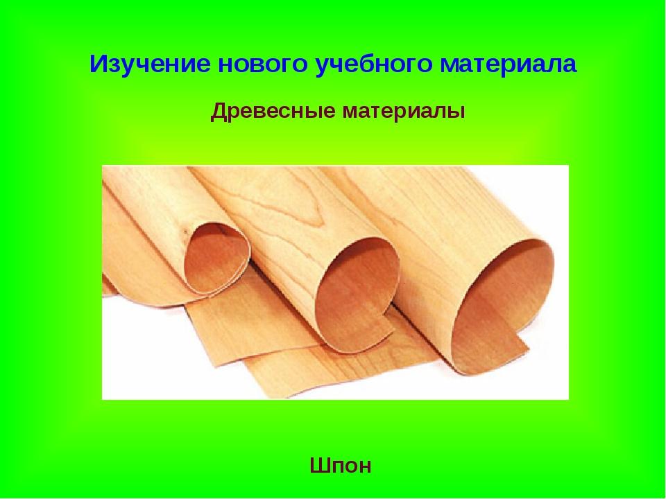 Изучение нового учебного материала Древесные материалы Шпон