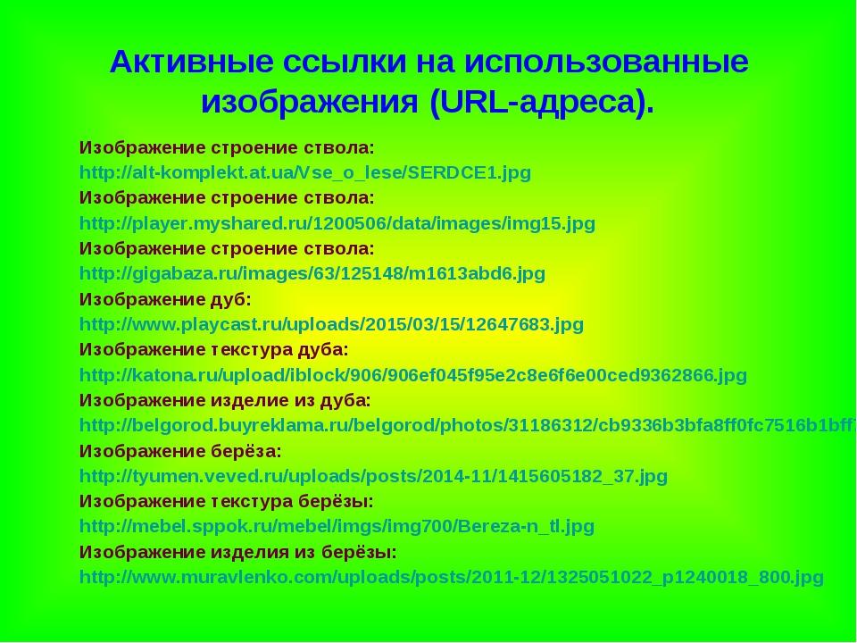 Активные ссылки на использованные изображения (URL-адреса). Изображение строе...