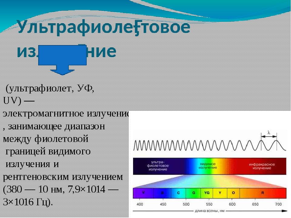 Ультрафиоле́товое излуче́ние (ультрафиолет, УФ, UV)—электромагнитное излуч...