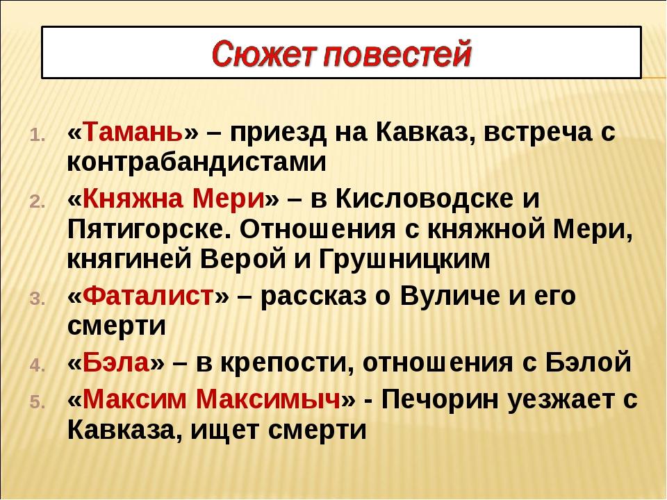 «Тамань» – приезд на Кавказ, встреча с контрабандистами «Княжна Мери» – в Кис...