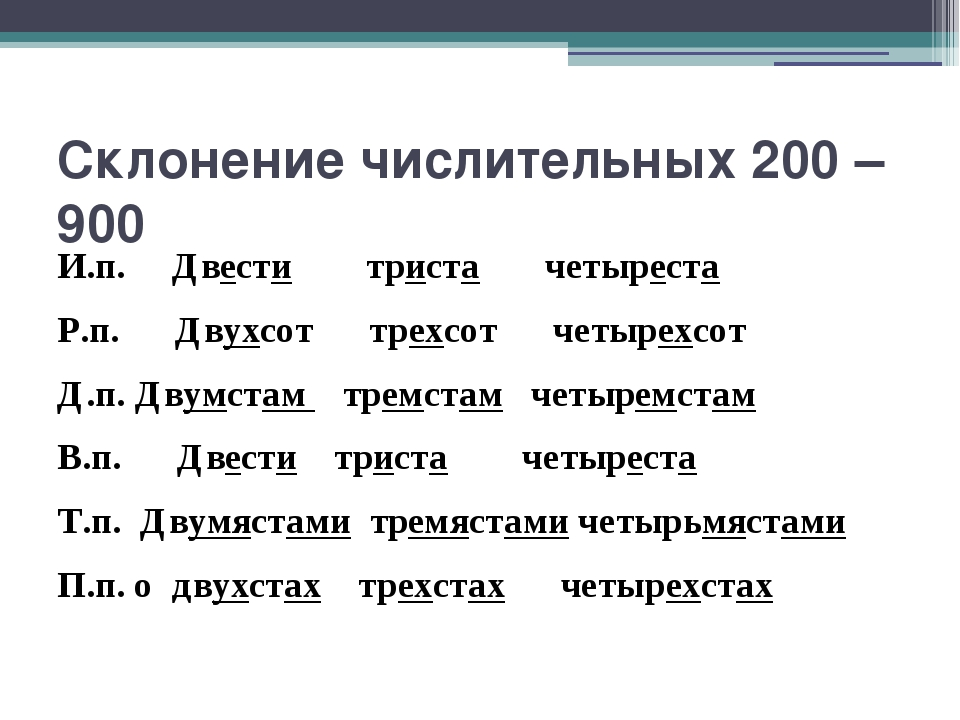 Склонение числительных 200 – 900 И.п. Двести триста четыреста Р.п. Двухсот тр...