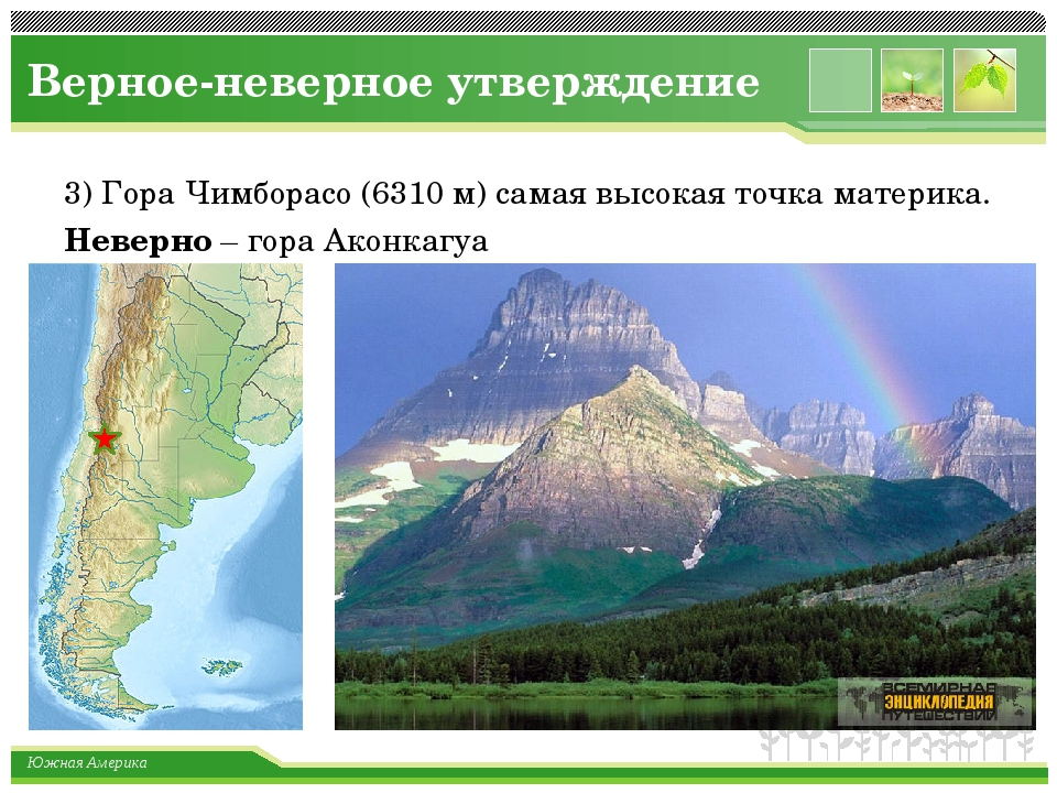 Верное-неверное утверждение 3) Гора Чимборасо (6310 м) самая высокая точка ма...