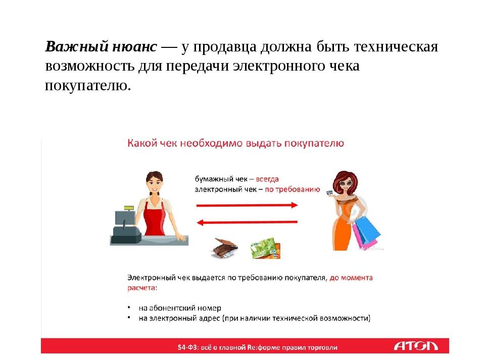 Важный нюанс — у продавца должна быть техническая возможность для передачи эл...