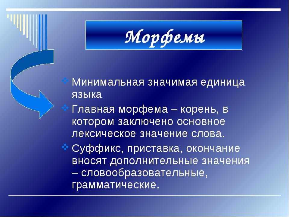 Морфемы Минимальная значимая единица языка Главная морфема – корень, в которо...