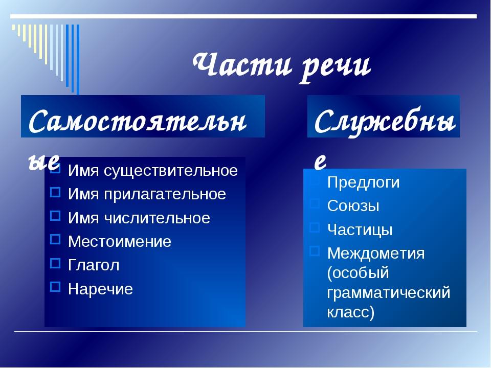 Части речи Имя существительное Имя прилагательное Имя числительное Местоимени...