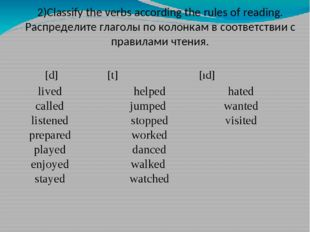 [d] 		 [t] [ıd] 2)Classify the verbs according the rules of reading. Распре