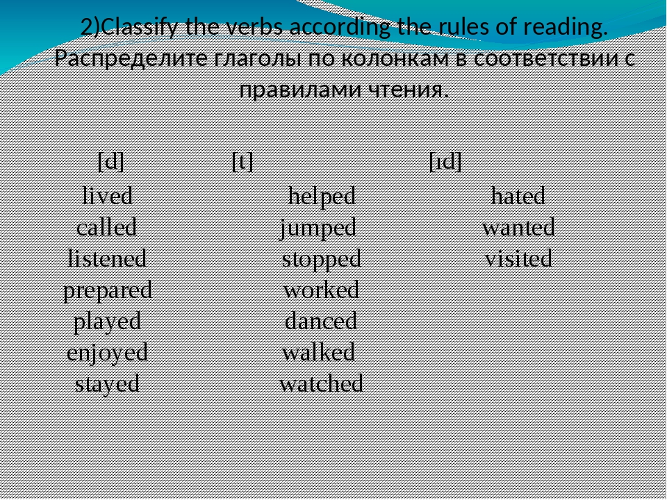 [d] 		 [t] [ıd] 2)Classify the verbs according the rules of reading. Распре...