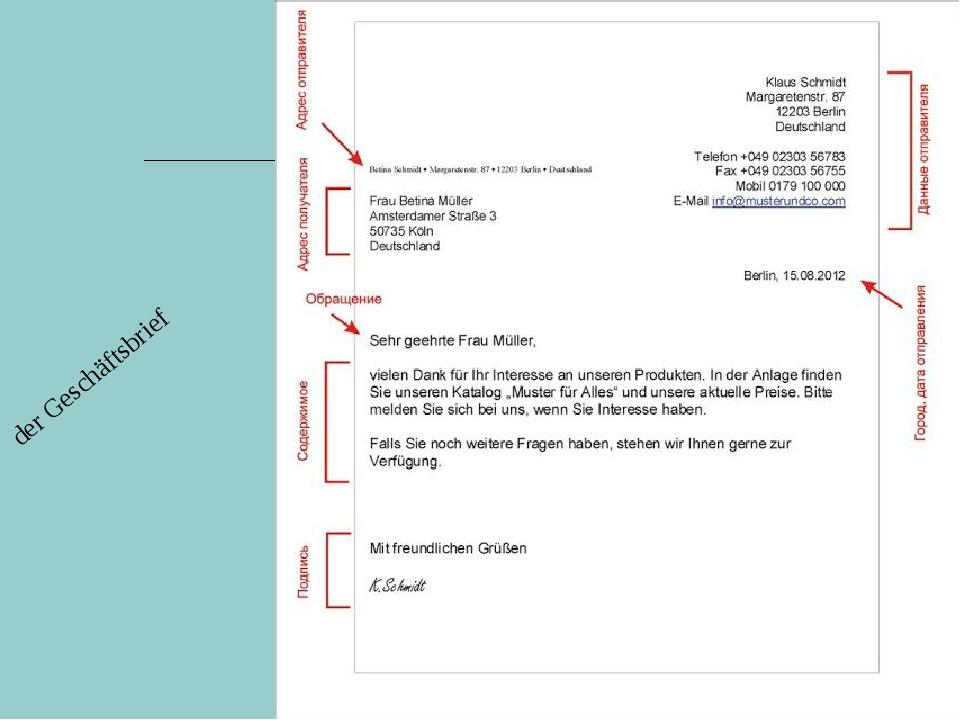 der Geschäftsbrief