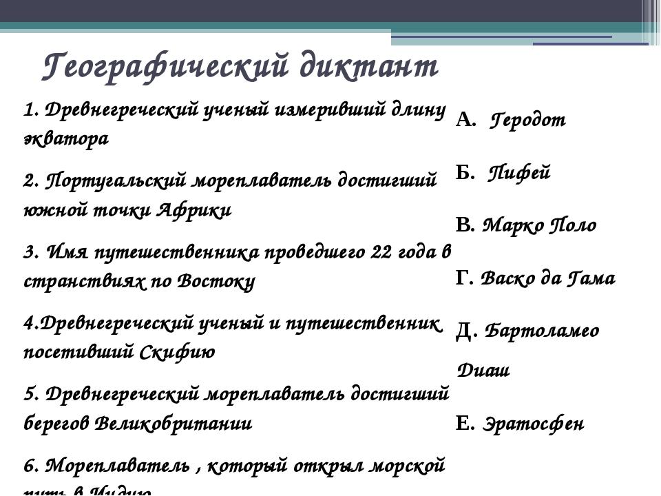 Географический диктант 1. Древнегреческий ученый измеривший длину экватора 2....