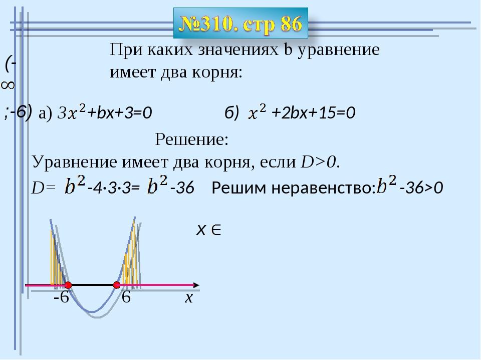 При каких значениях b уравнение имеет два корня: a) 3 +bx+3=0 б) +2bx+15=0 Ре...