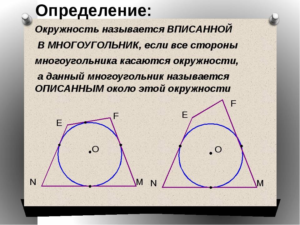 Окружность называется ВПИСАННОЙ В МНОГОУГОЛЬНИК, если все стороны многоугольн...