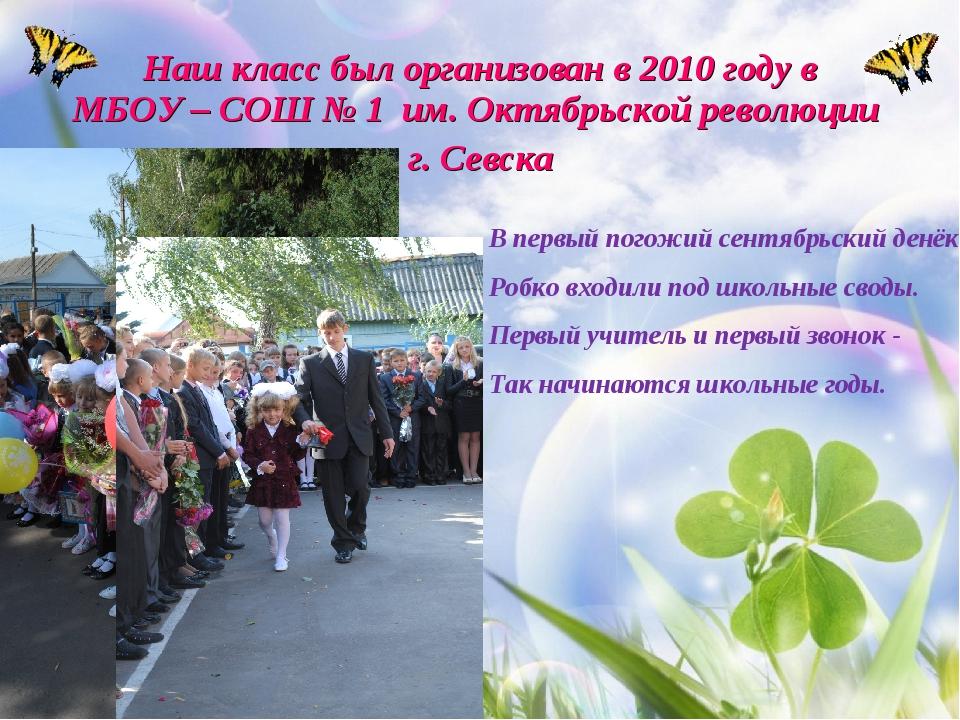 Наш класс был организован в 2010 году в МБОУ – СОШ № 1 им. Октябрьской револю...