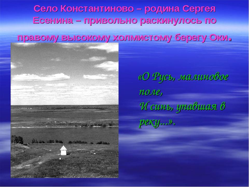 Село Константиново – родина Сергея Есенина – привольно раскинулось по правому...