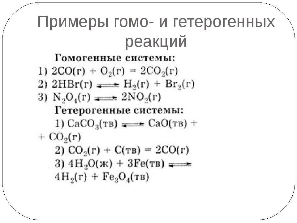 Гомогенных и гетерогенных реакции