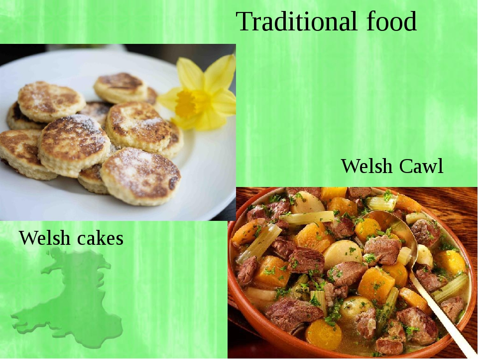 Traditional food Welsh Cawl Welsh cakes