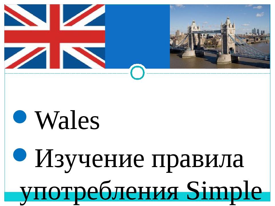 Wales Изучение правила употребления Simple Past