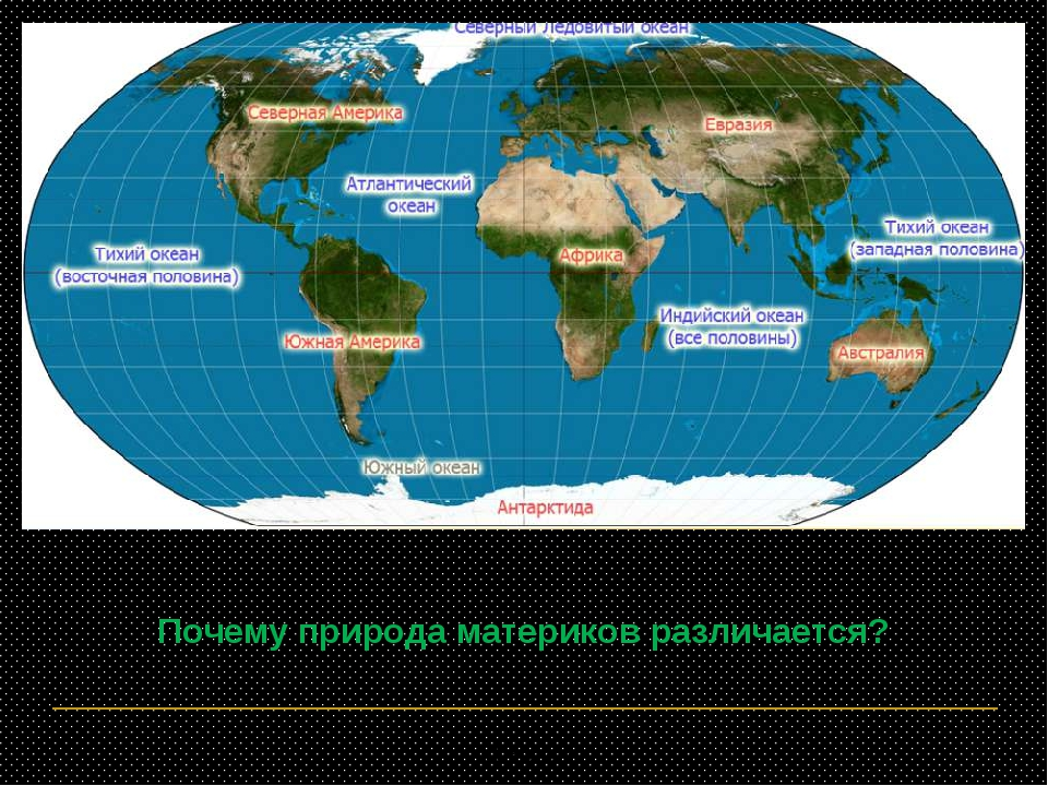 Почему природа материков различается? А.Г.Волкова * А.Г.Волкова