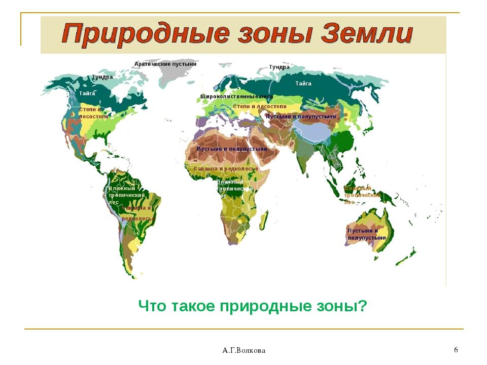 Что такое природные зоны? А.Г.Волкова * А.Г.Волкова