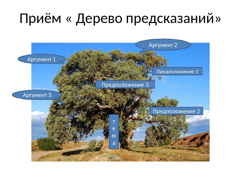 Приём « Дерево предсказаний» тема Предположение 1 Предположение 2 Предположен...