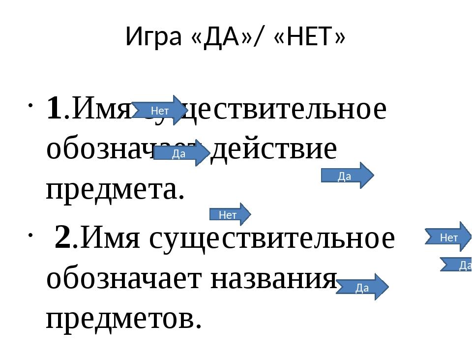 Игра «ДА»/ «НЕТ» 1.Имя существительное обозначает действие предмета. 2.Имя су...