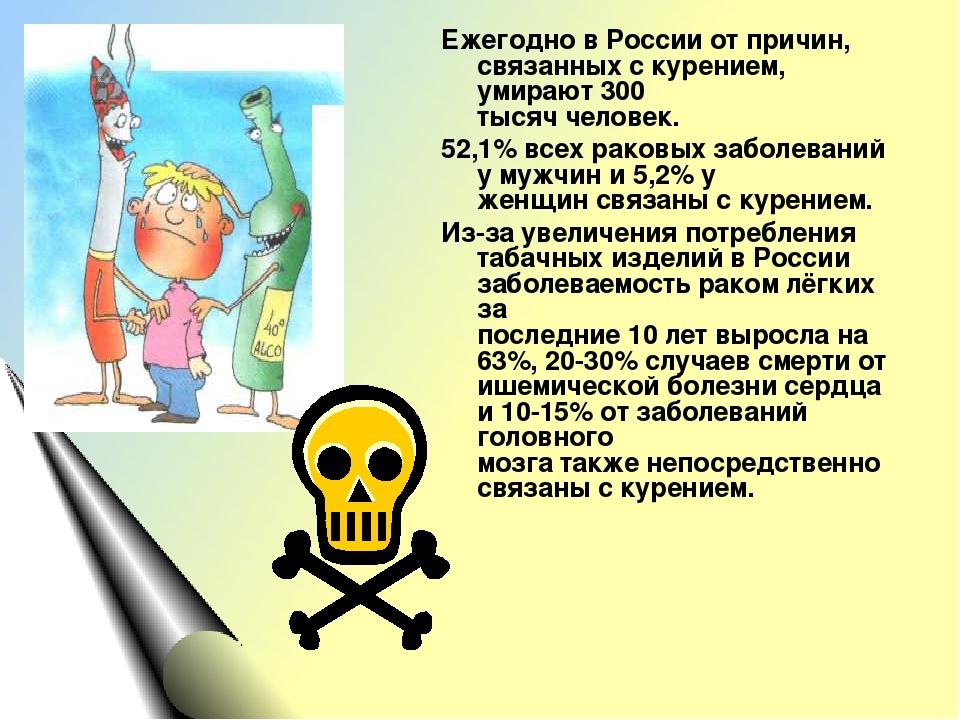 Ежегодно в России от причин, связанных с курением, умирают 300 тысяч человек....