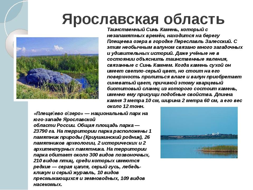 Ярославская область Таинственный Синь Камень, который с незапамятных времён,...