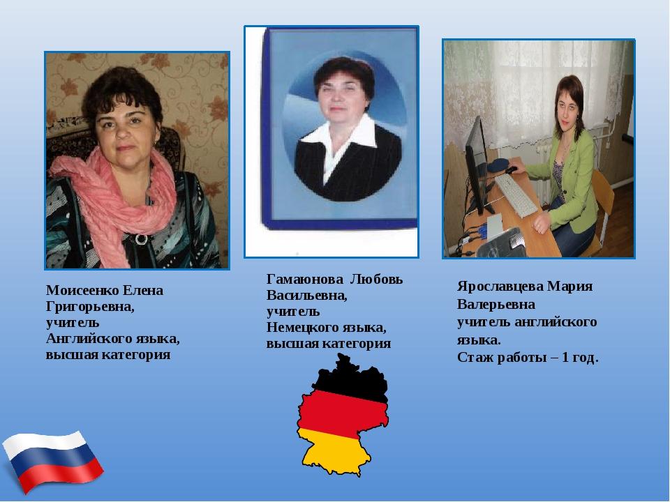 Моисеенко Елена Григорьевна, учитель Английского языка, высшая категория Гама...
