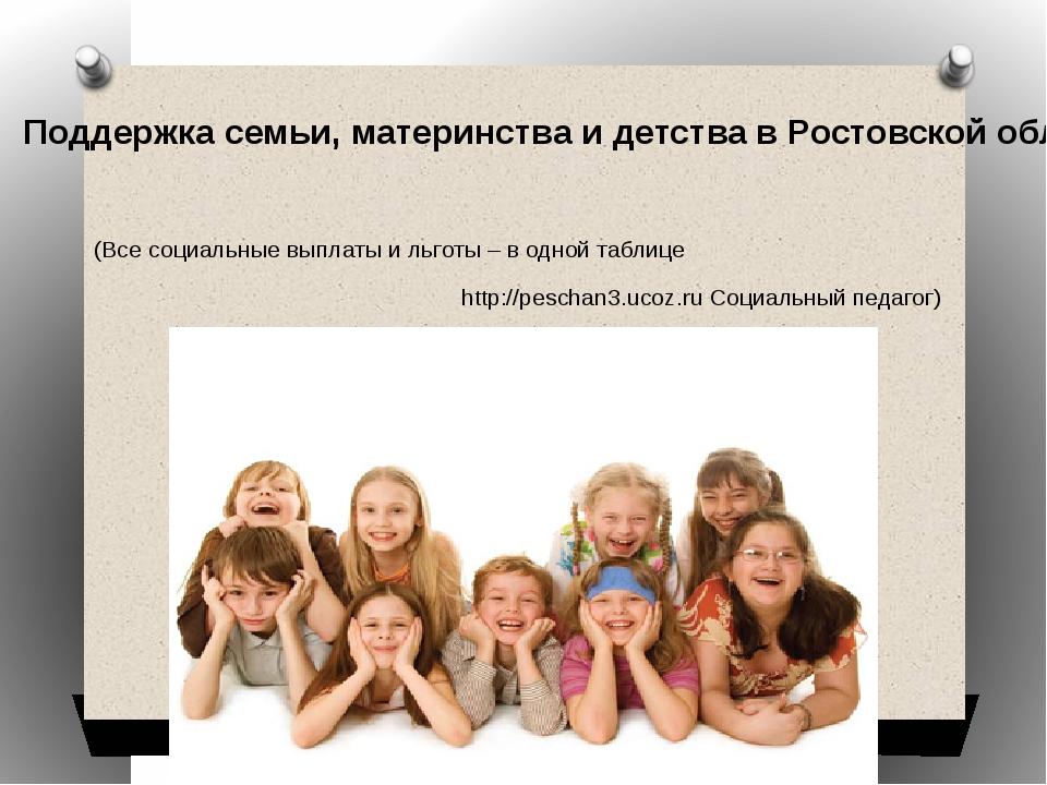 Поддержка семьи, материнства и детства в Ростовской области  Поддержка семьи...
