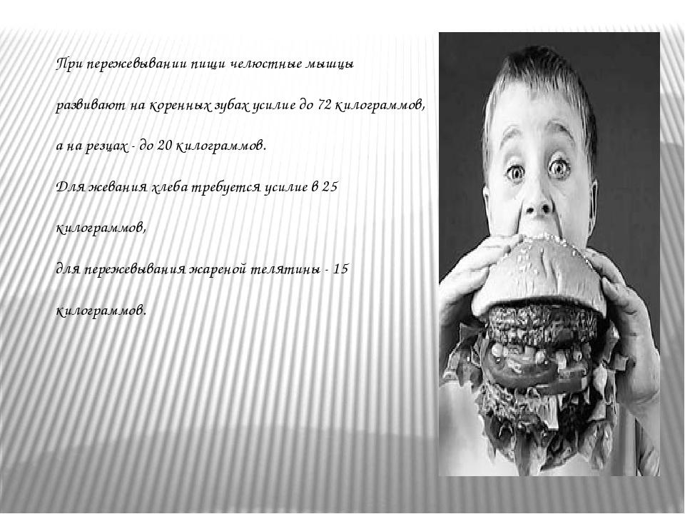 При пережевывании пищи челюстные мышцы развивают на коренных зубах усилие до...