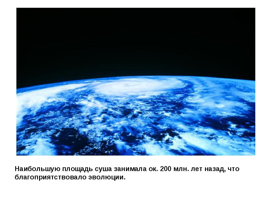 Наибольшую площадь суша занимала ок. 200 млн. лет назад, что благоприятствова...