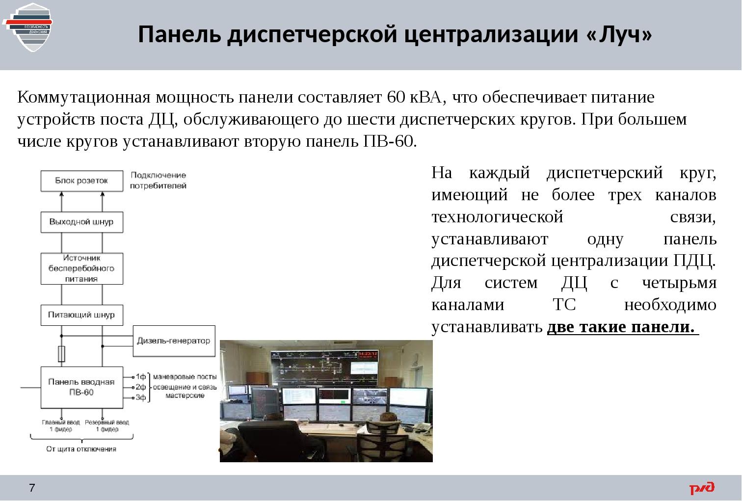 Панель диспетчерской централизации «Луч» Коммутационная мощность панели соста...