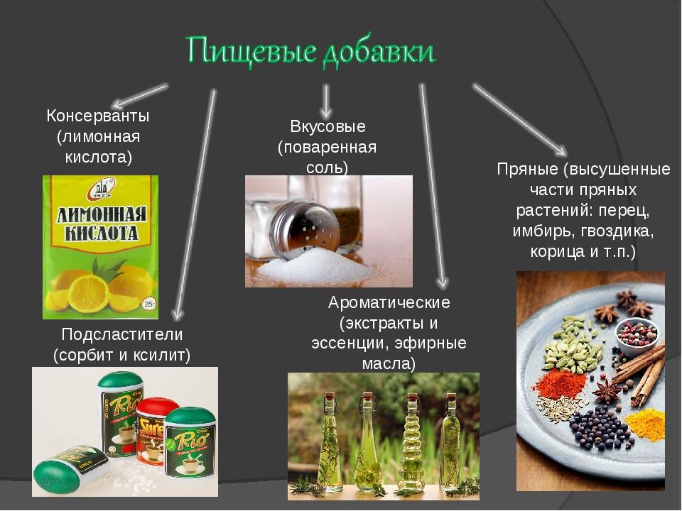Вкусовые (поваренная соль) Подсластители (сорбит и ксилит) Ароматические (экс...