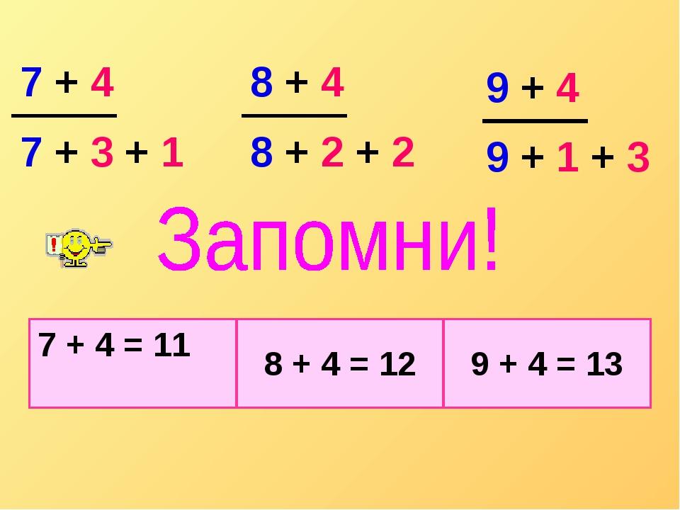 7 + 3 + 1 8 + 2 + 2 9 + 4 9 + 1 + 3 7 + 4 8 + 4 7 + 4 = 11 8 + 4 = 129 + 4...