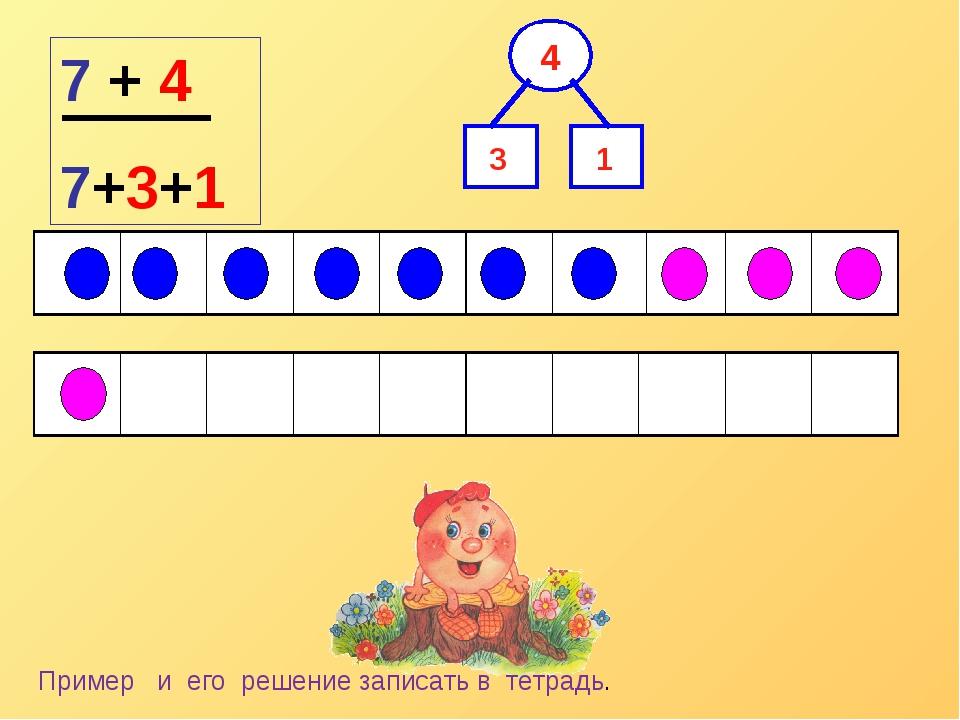 7 + 4 7+3+1 1 3 Пример и его решение записать в тетрадь.