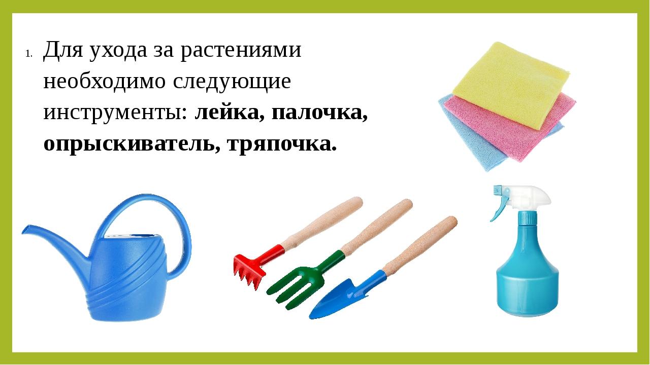 Для ухода за растениями необходимо следующие инструменты: лейка, палочка, опр...