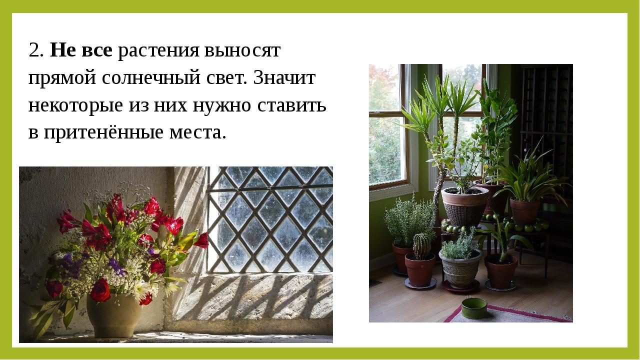 2. Не все растения выносят прямой солнечный свет. Значит некоторые из них нуж...