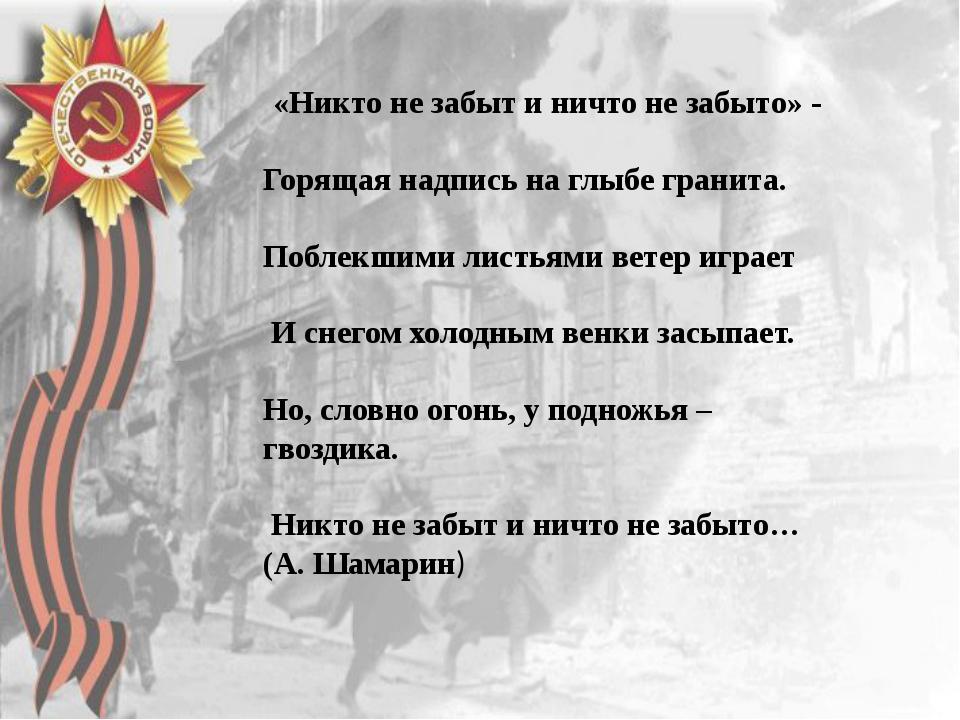 « (А. Шамарин) Никто не забыт и ничто не забыто» - Горящая надпись на глыбе...