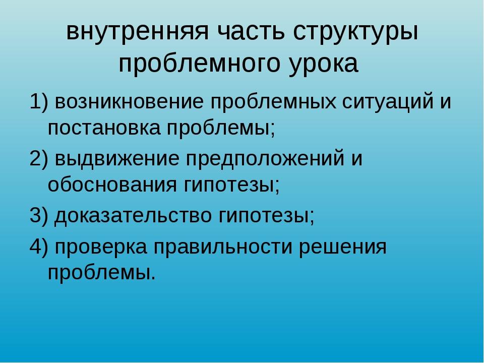 внутренняя часть структуры проблемного урока 1) возникновение проблемных ситу...