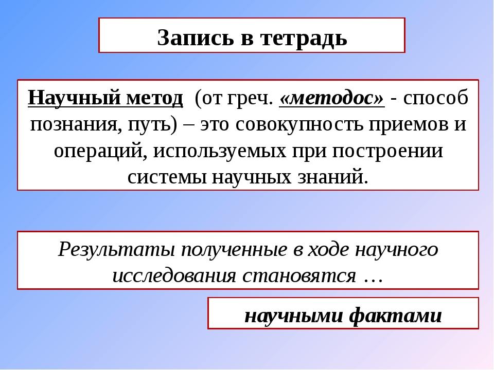Научный метод (от греч. «методос» - способ познания, путь) – это совокупность...