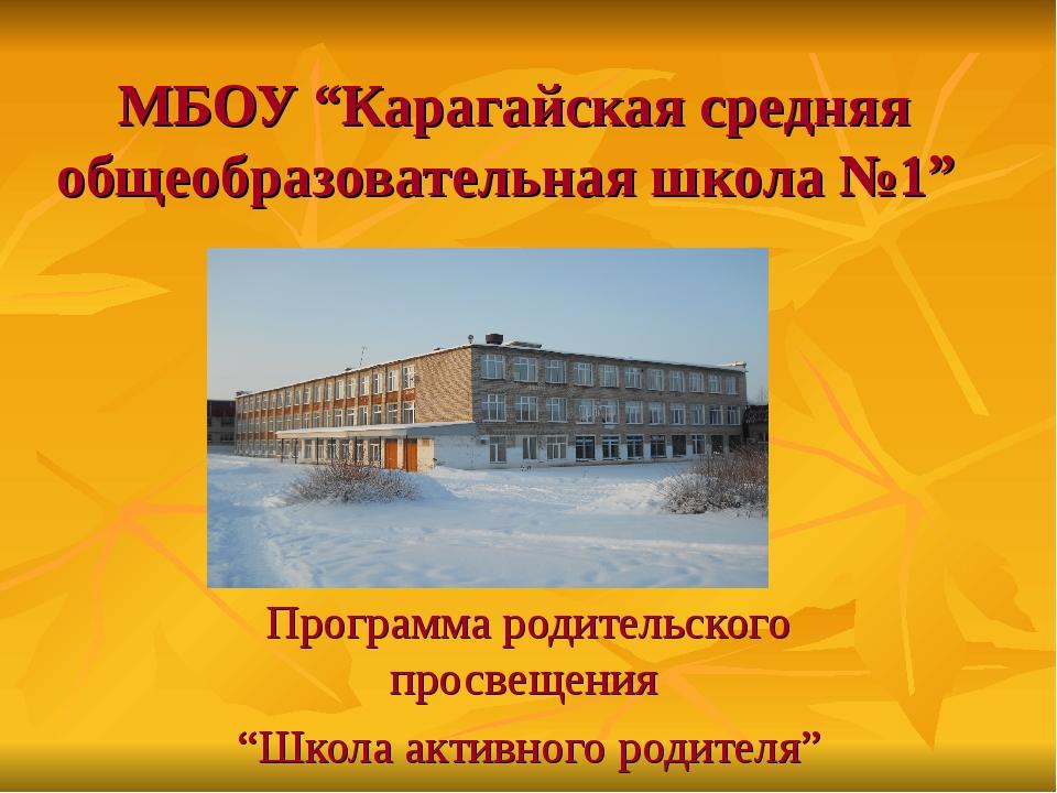 """МБОУ """"Карагайская средняя общеобразовательная школа №1"""" Программа родительско..."""