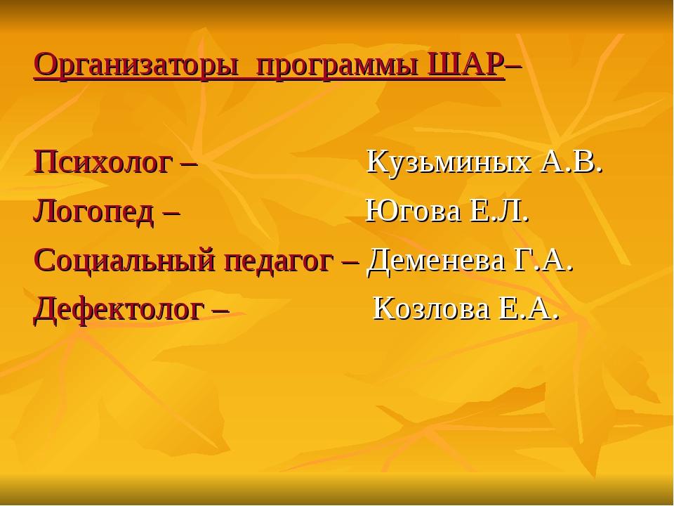 Организаторы программы ШАР– Психолог – Кузьминых А.В. Логопед – Югова Е.Л. Со...