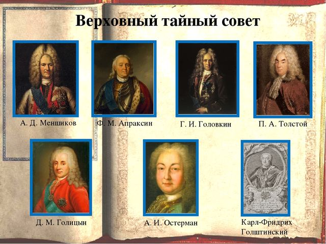 Верховный тайный совет А. Д. Меншиков Ф. М. Апраксин Г. И. Головкин П. А. То...